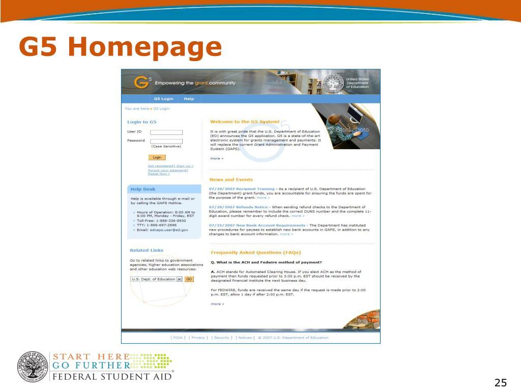 G5 Homepage