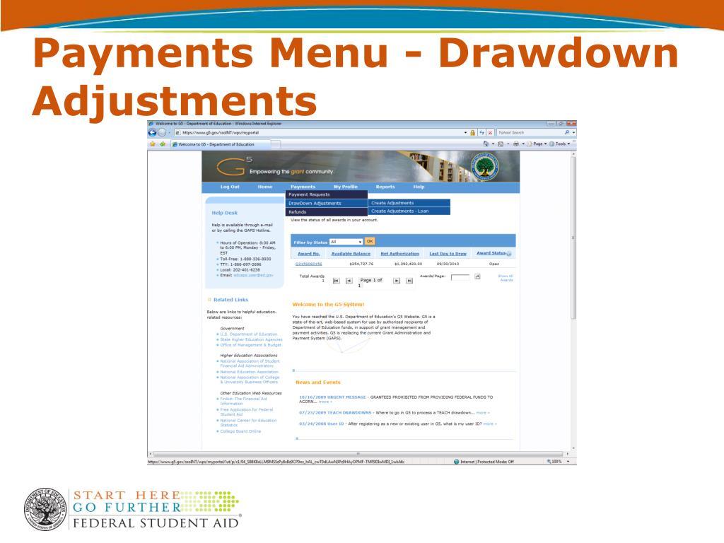 Payments Menu - Drawdown Adjustments