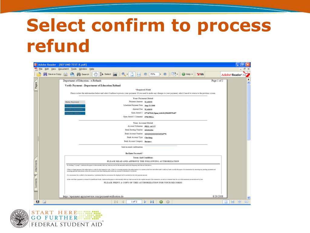 Select confirm to process refund