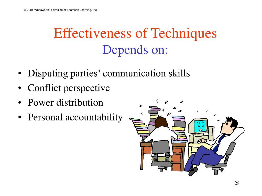Effectiveness of Techniques
