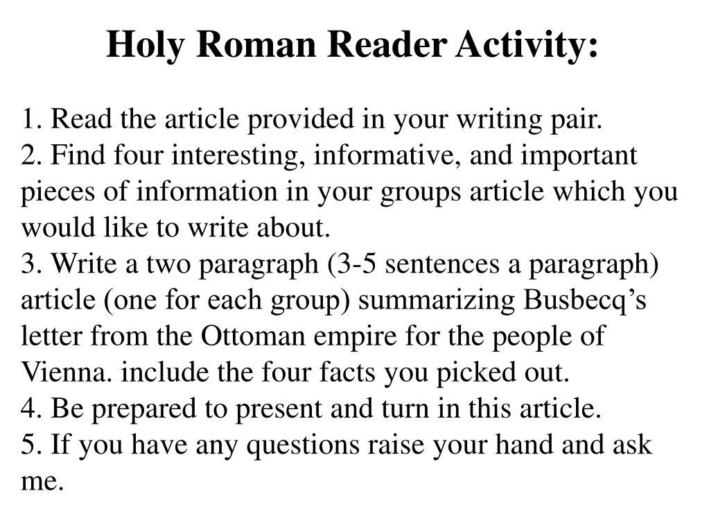 Holy Roman Reader Activity:
