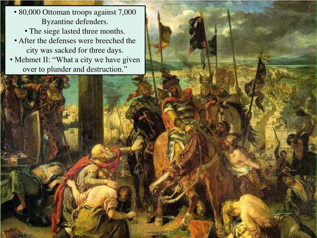 80,000 Ottoman troops against 7,000 Byzantine defenders.