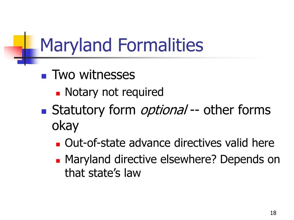 Maryland Formalities