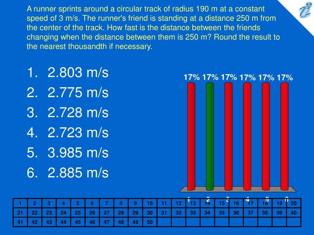 A runner sprints around a circular track of radius 190 m at a constant speed of 3 m/s. The runner's friend is standing at a distance 250 m from the center of the track. How fast is the distance between the friends changing when the distance between them is 250 m? Round the result to the nearest thousandth if necessary.