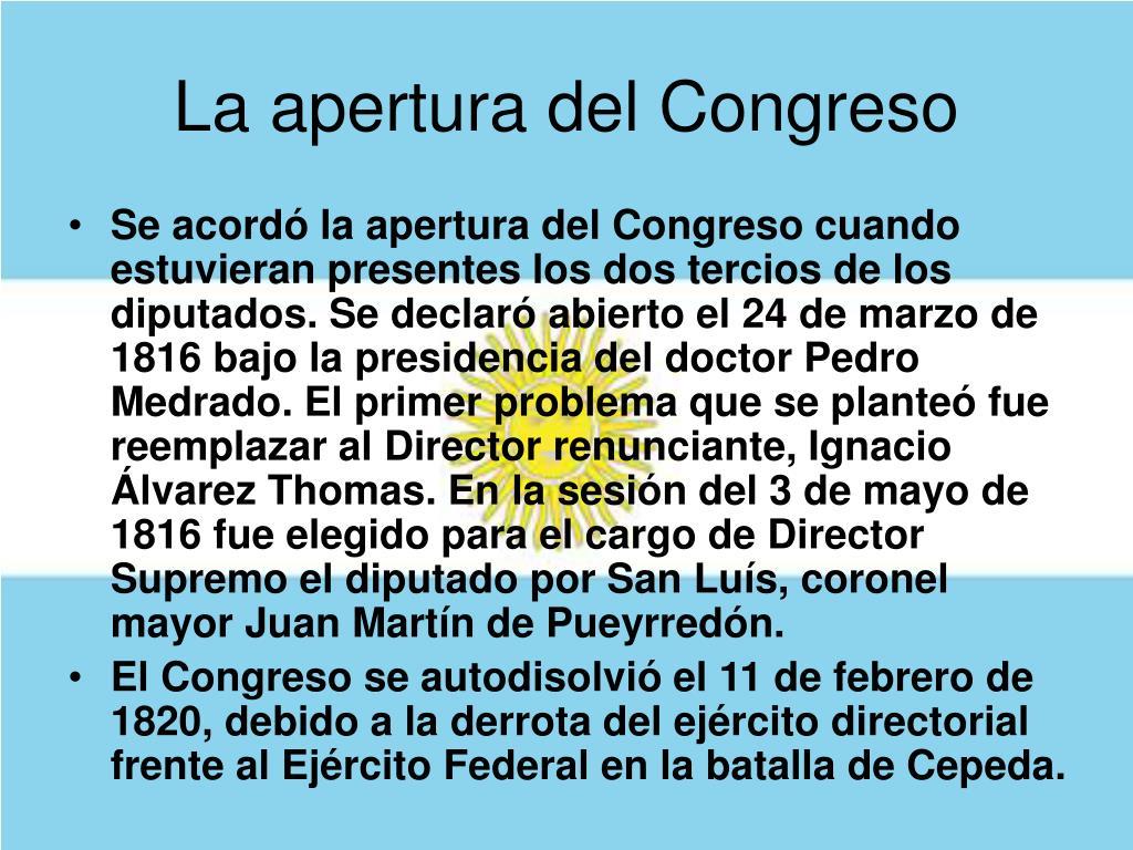 La apertura del Congreso