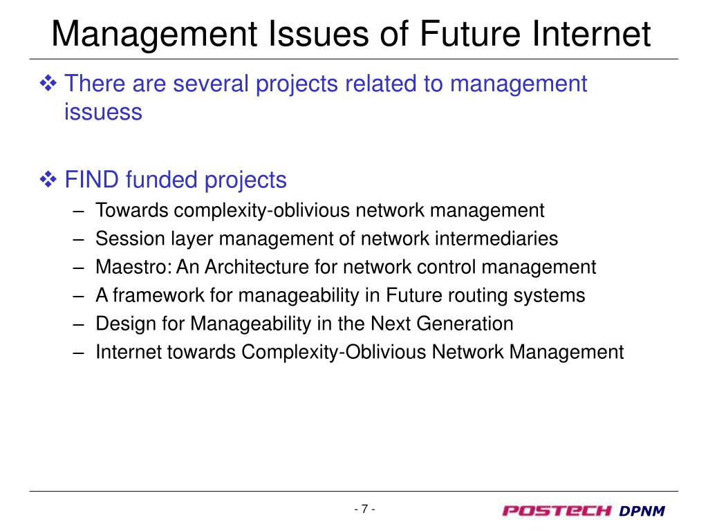 Management Issues of Future Internet