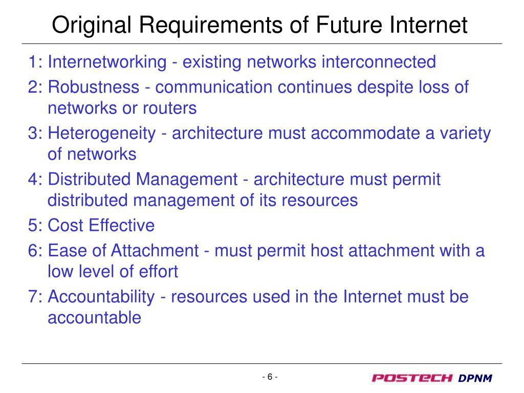 Original Requirements of Future Internet