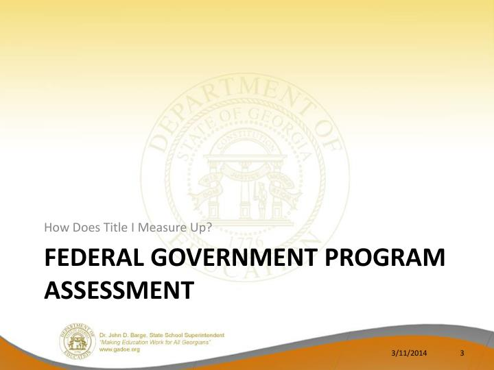 Federal government program assessment