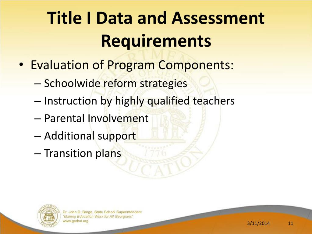 Title I Data and Assessment Requirements