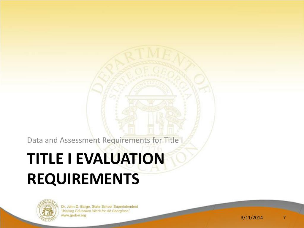 Data and Assessment Requirements for Title I