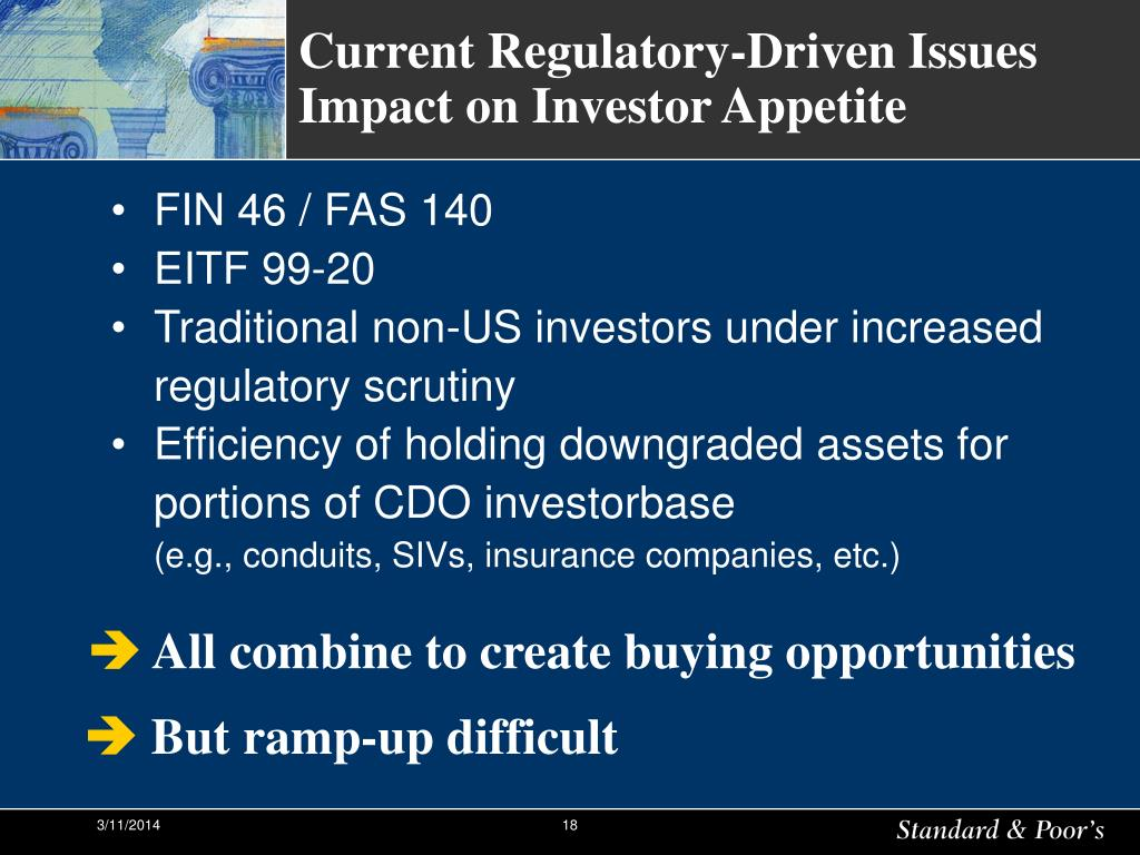 Current Regulatory-Driven Issues Impact on Investor Appetite