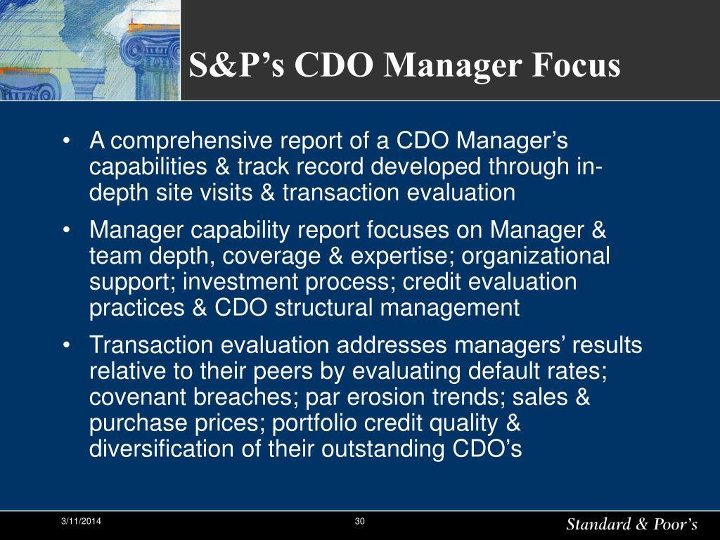 S&P's CDO Manager Focus