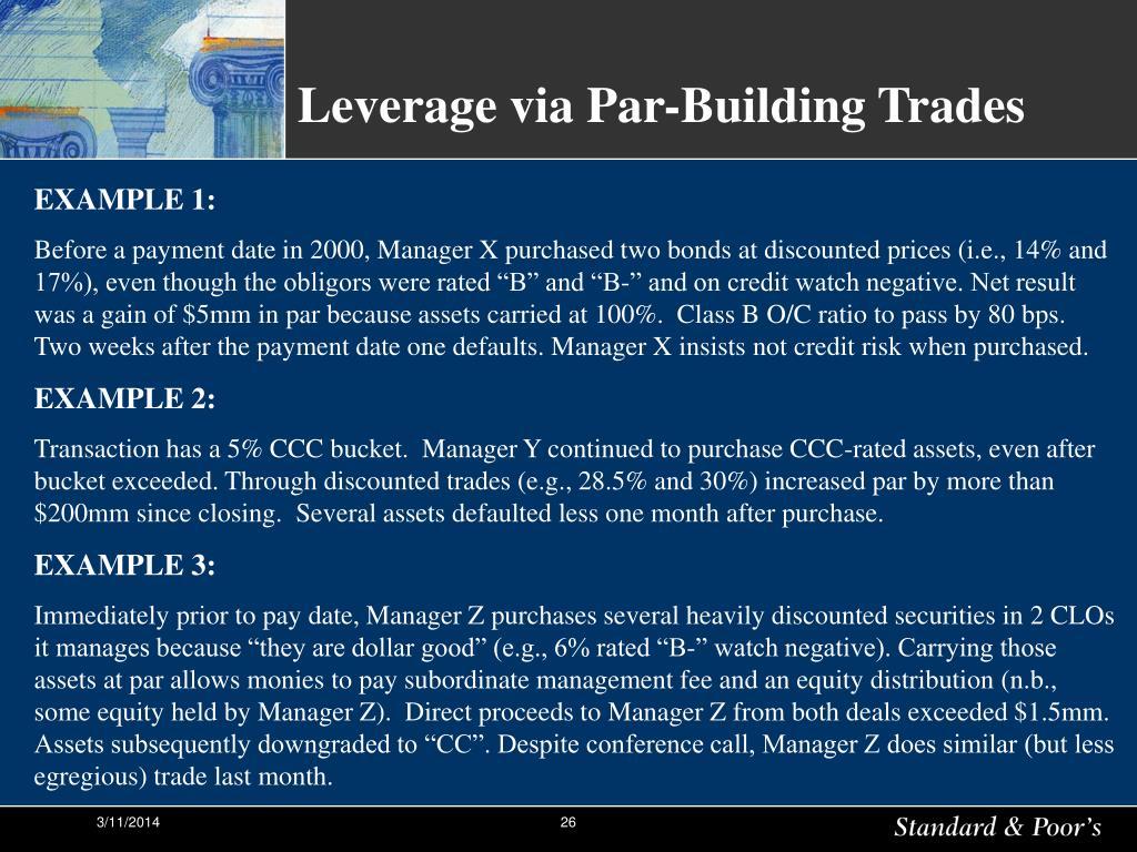 Leverage via Par-Building Trades