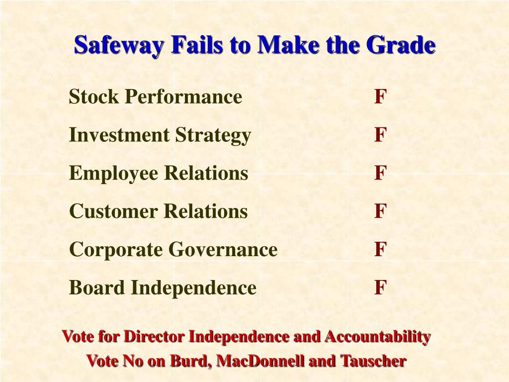Safeway Fails to Make the Grade