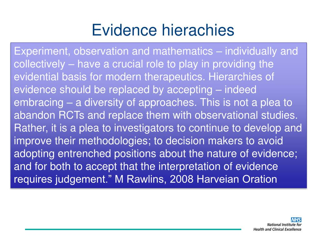Evidence hierachies