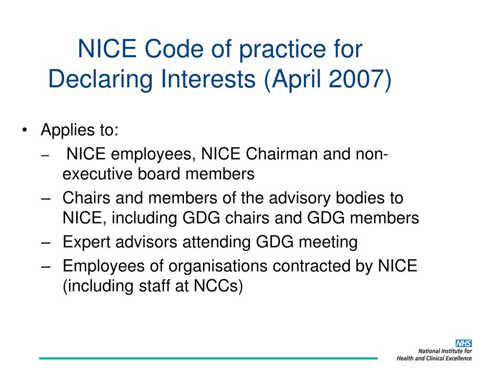 NICE Code of practice for Declaring Interests (April 2007)