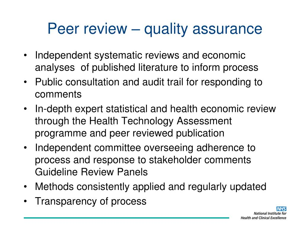 Peer review – quality assurance