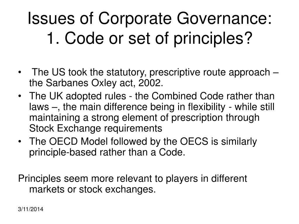 Issues of Corporate Governance: