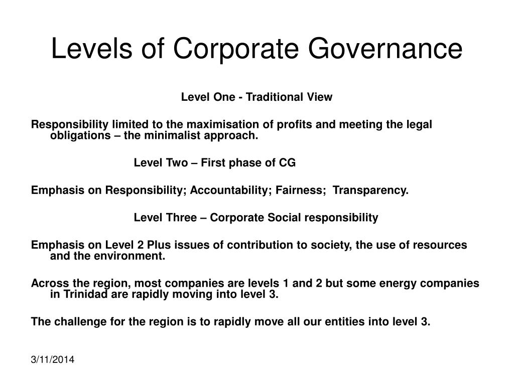 Levels of Corporate Governance