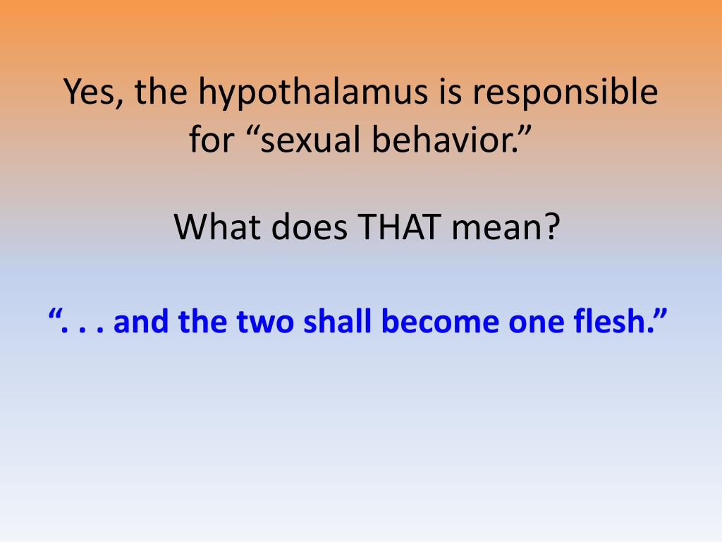 "Yes, the hypothalamus is responsible for ""sexual behavior."""