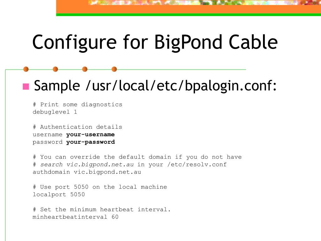 Configure for BigPond Cable