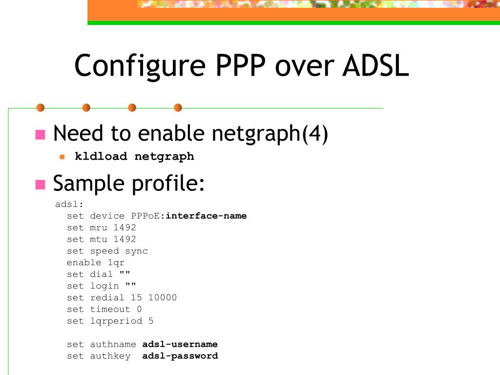 Configure PPP over ADSL