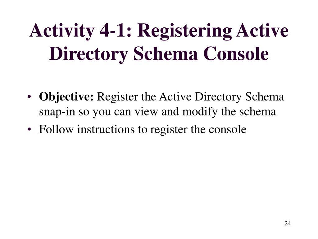 Activity 4-1: Registering Active Directory Schema Console