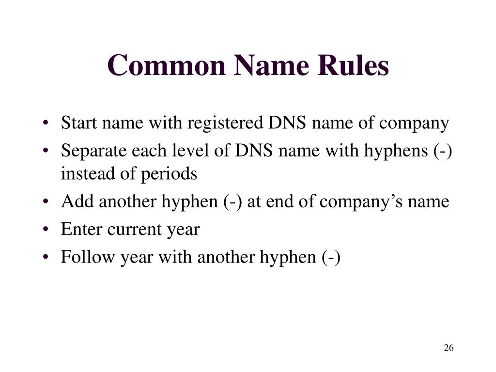 Common Name Rules