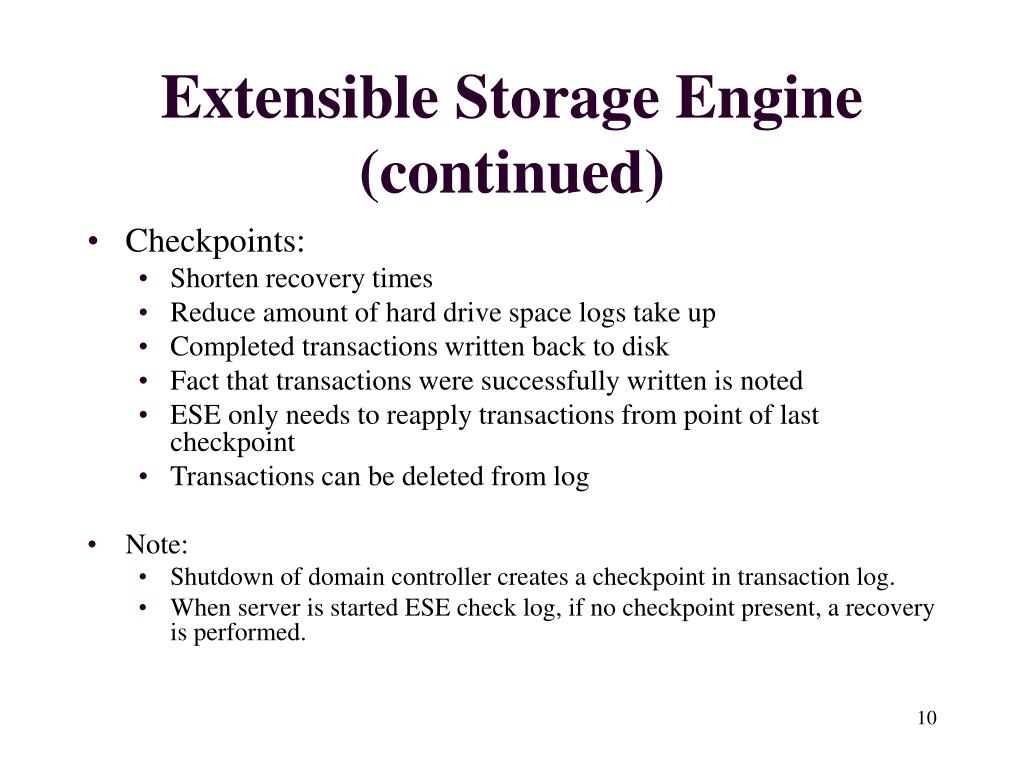 Extensible Storage Engine (continued)