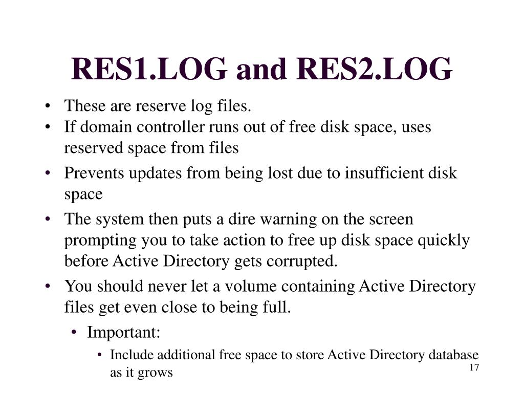 RES1.LOG and RES2.LOG