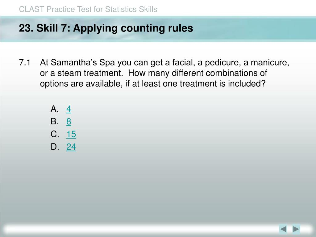 23. Skill 7: Applying counting rules