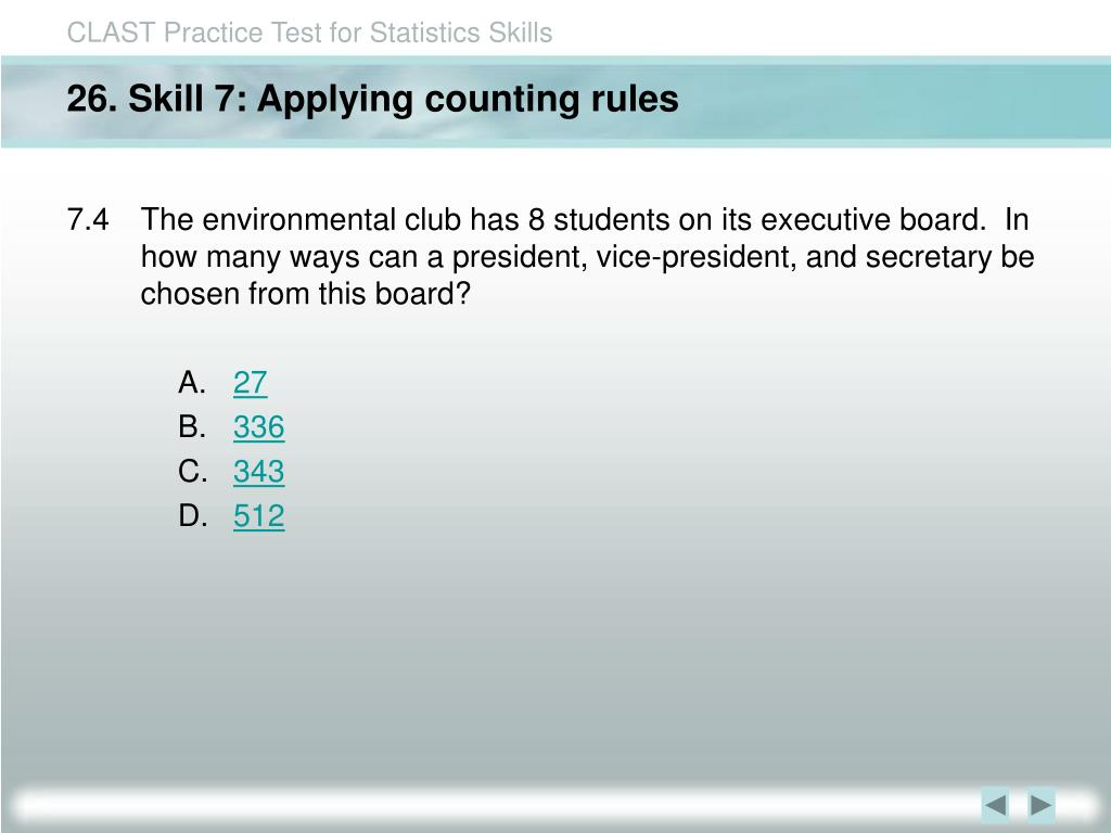 26. Skill 7: Applying counting rules
