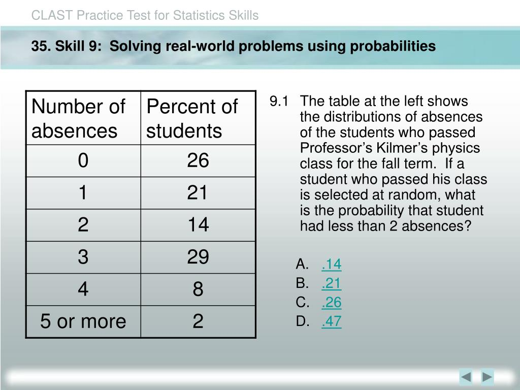 35. Skill 9:  Solving real-world problems using probabilities