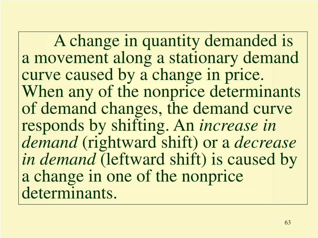 A change in quantity demanded is a movement along a stationary demand curve caused by a change in price. When any of the nonprice determinants of demand changes, the demand curve responds by shifting. An