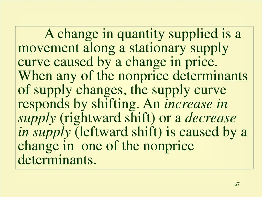A change in quantity supplied is a movement along a stationary supply curve caused by a change in price. When any of the nonprice determinants of supply changes, the supply curve responds by shifting. An