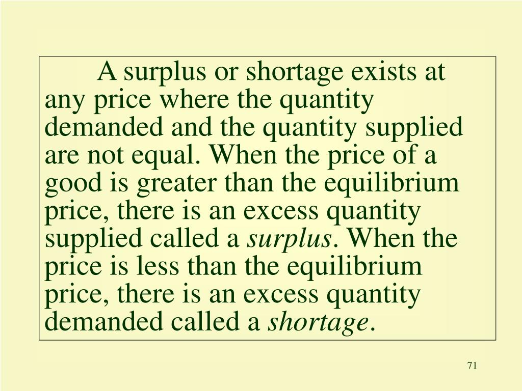 A surplus or shortage exists at any price where the quantity demanded and the quantity supplied are not equal. When the price of a good is greater than the equilibrium price, there is an excess quantity supplied called a