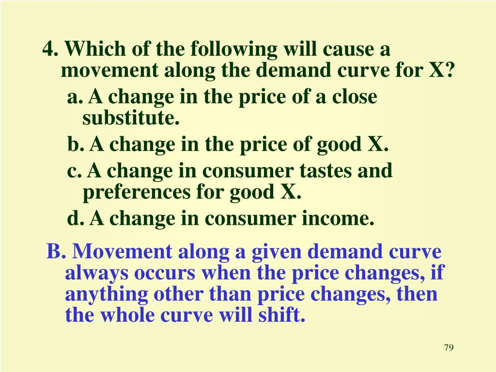 4. Which of the following will cause a movement along the demand curve for X?