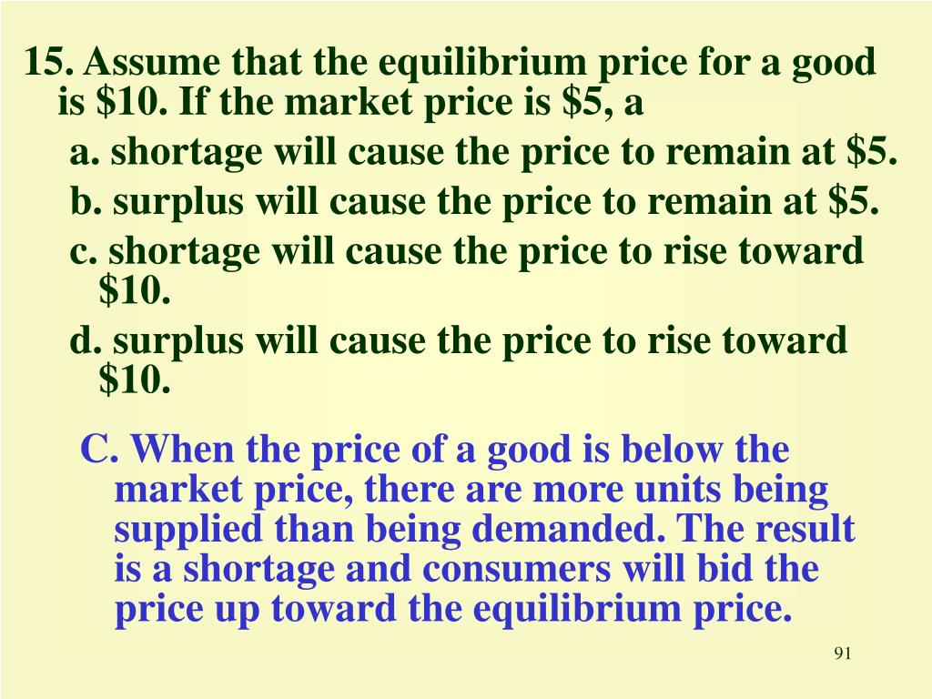 15. Assume that the equilibrium price for a good is $10. If the market price is $5, a