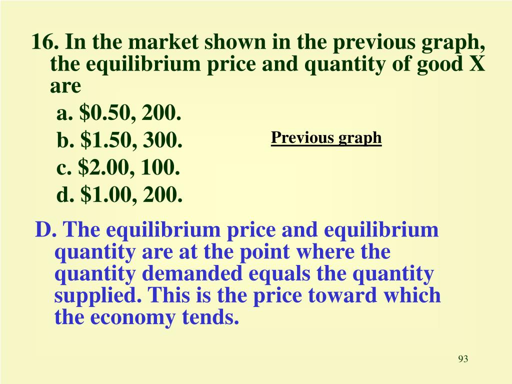 16. In the market shown in the previous graph, the equilibrium price and quantity of good X are