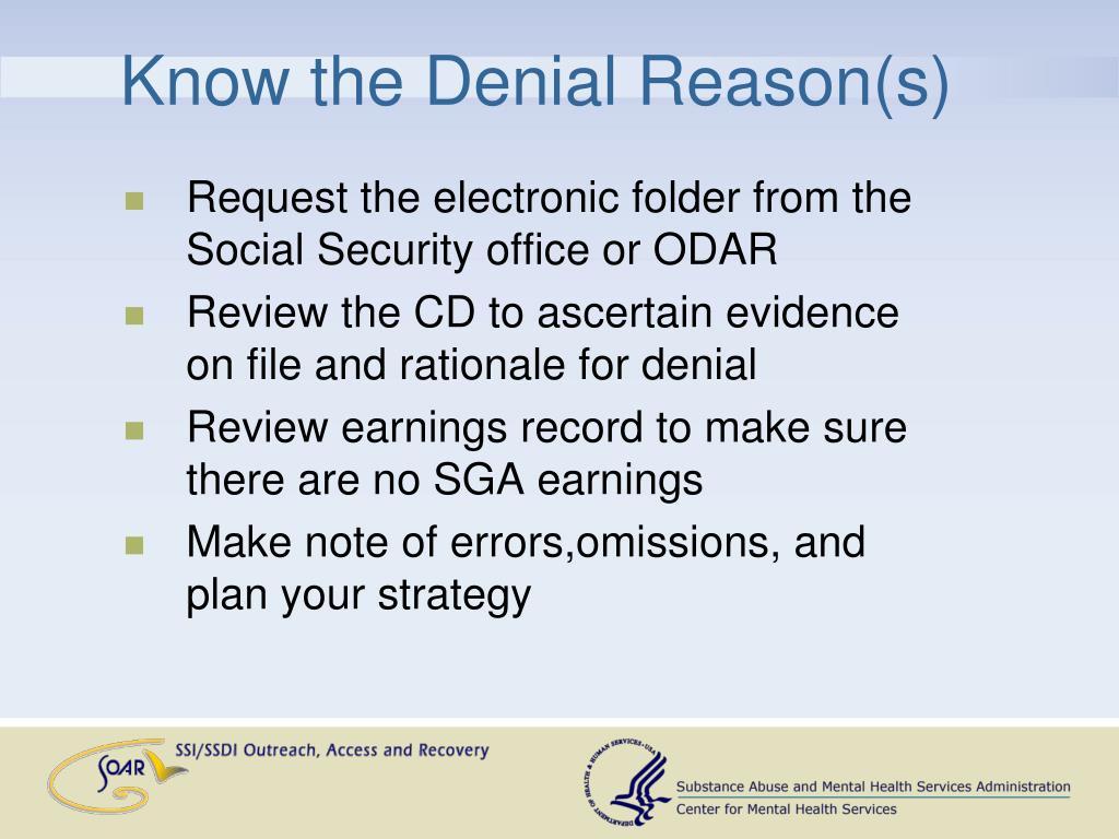 Know the Denial Reason(s)
