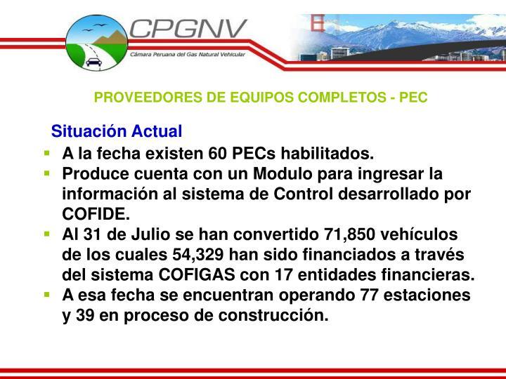 PROVEEDORES DE EQUIPOS COMPLETOS - PEC