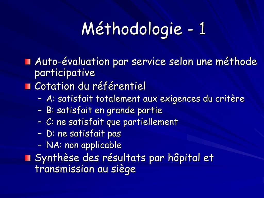 Méthodologie - 1