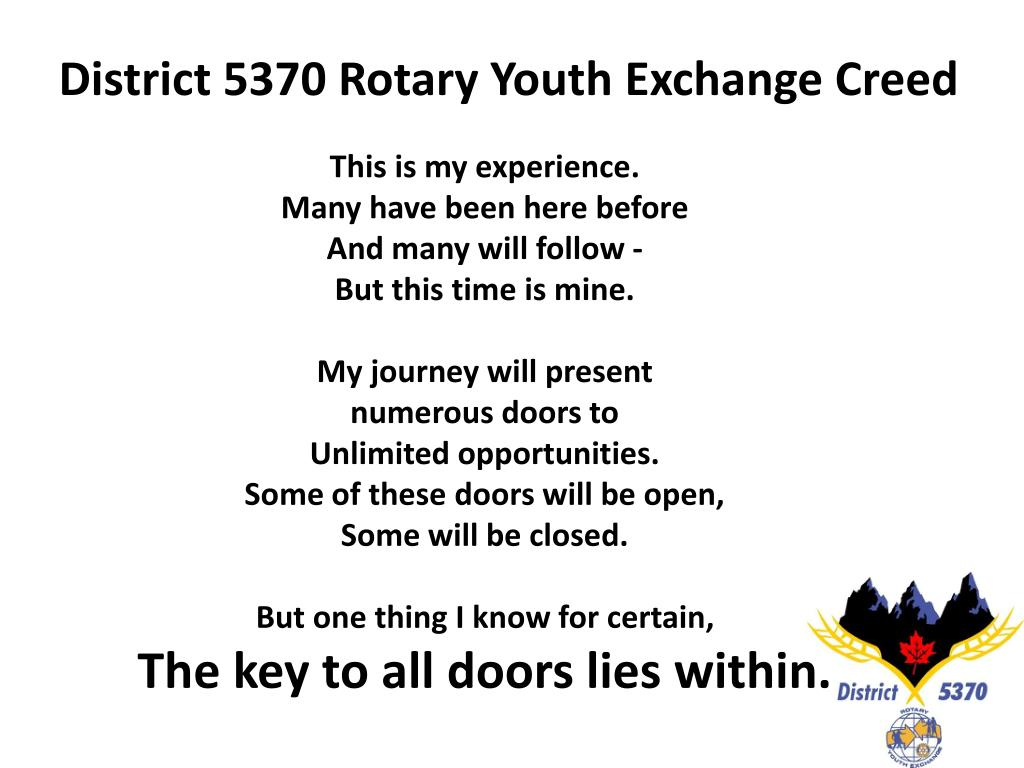 District 5370 Rotary Youth Exchange Creed