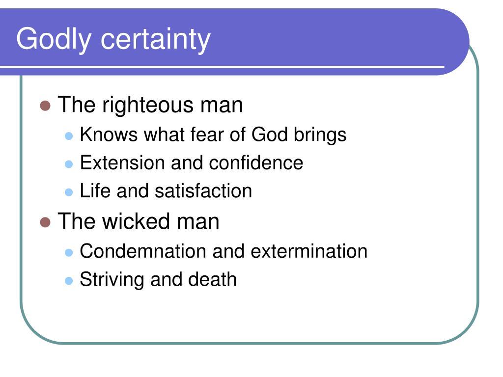 Godly certainty