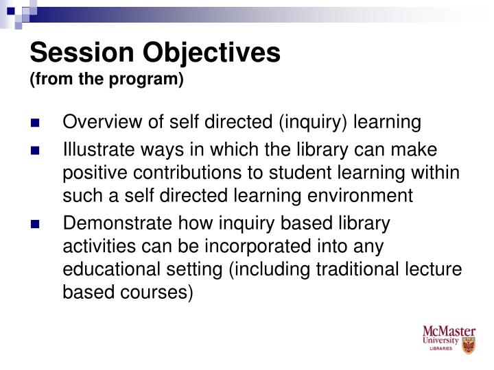 Session objectives from the program
