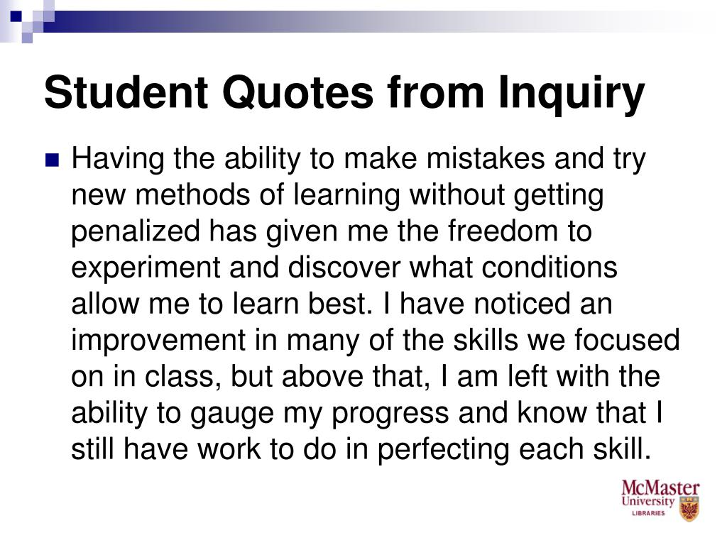 Student Quotes from Inquiry