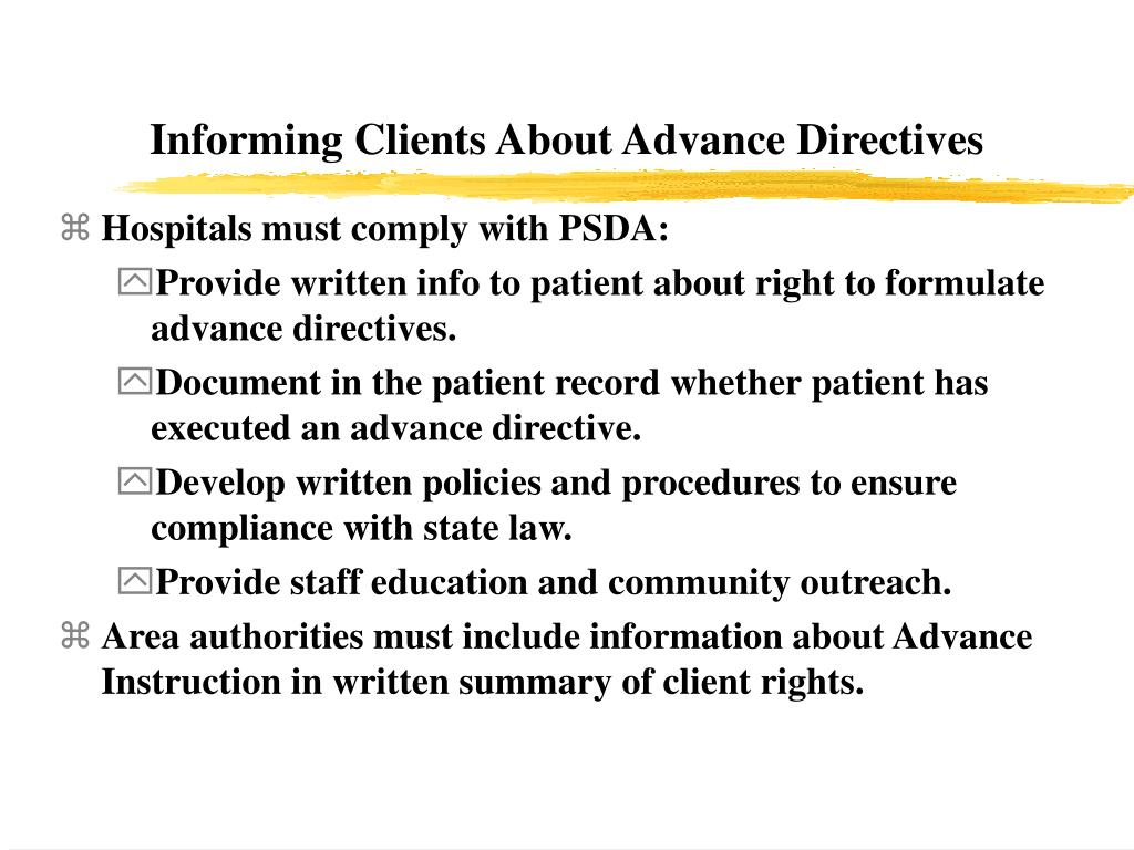 Informing Clients About Advance Directives