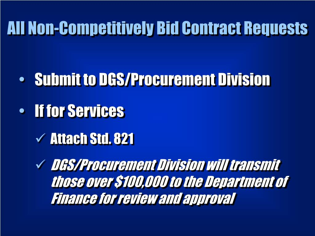 All Non-Competitively Bid Contract Requests