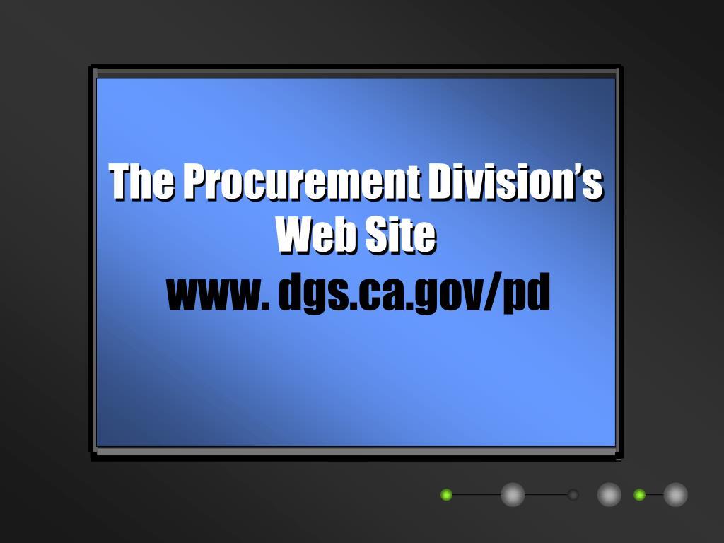 The Procurement Division's Web Site