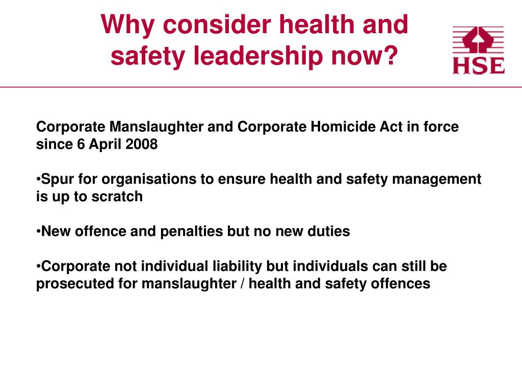 Why consider health and safety leadership now?